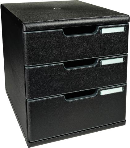Schubladenbox MODULO, mit 3 Schubladen, A4, schwarz/schwarz
