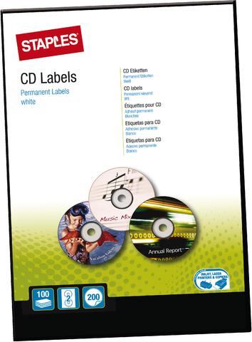 Etikett, CDs/DVDs, I/L/K, A4-Bg., sk, Pap., Ø: 117mm, weiß