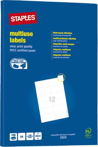 Etikett, I/L/K, A4-Bg., sk, Pap., 105x48mm, weiß