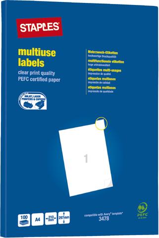 Etikett, I/L/K, A4-Bg., sk, Pap., 210x297mm, weiß