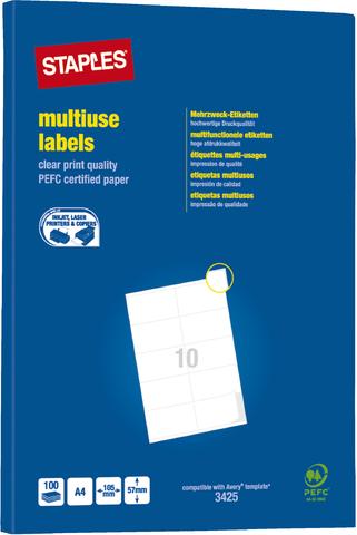 Etikett, I/L/K, A4-Bg., sk, Pap., 105x57mm, weiß