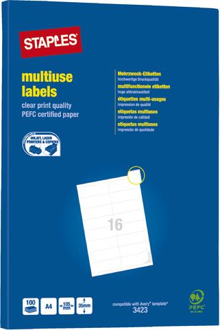Etikett, I/L/K, A4-Bg., sk, Pap., 105x35mm, weiß