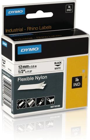 Schriftbandkassette, Rhino, Nylon, 12 mm x 3,5 m, schwarz auf weiß