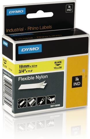 Schriftbandkassette, Rhino, Nylon, 19 mm x 3,5 m, schwarz auf gelb