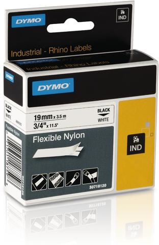 Schriftbandkassette, Rhino, Nylon, 19 mm x 3,5 m, schwarz auf weiß