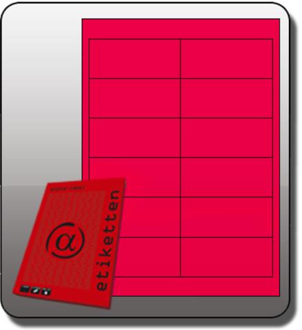 Etikett, Inkjet/Laser/Kopierer, selbstklebend, 97x42,3mm, neonpink