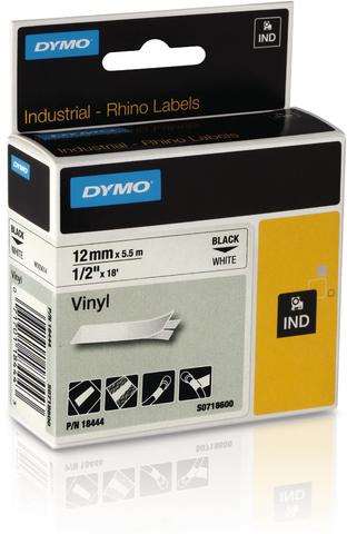 Schriftbandkassette, Rhino, Vinyl, 12 mm x 5,5 m, schwarz auf weiß