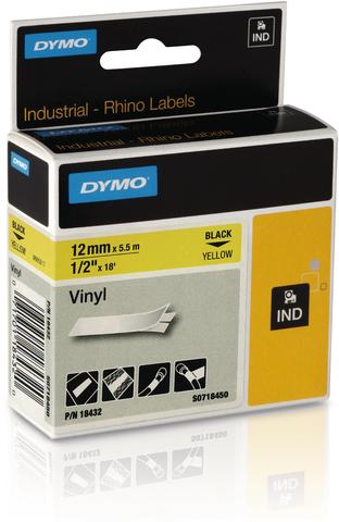 Schriftbandkassette, Rhino, Vinyl, 12 mm x 5,5 m, schwarz auf gelb