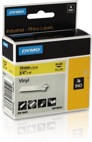 Schriftbandkassette, Rhino, Vinyl, 19 mm x 5,5 m, schwarz auf gelb