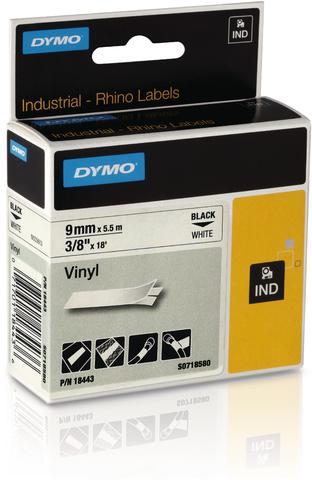 Schriftbandkassette, Rhino, Vinyl, 9 mm x 5,5 m, schwarz auf weiß