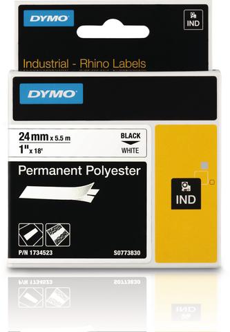Schriftbandkassette, Rhino, Polyester, 24mmx5,5m, schwarz auf weiß