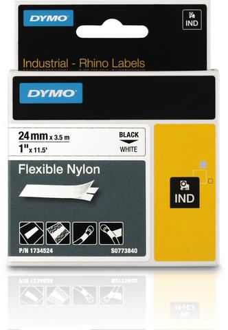 Schriftbandkassette, Rhino, Nylon, 24 mm x 3,5 m, schwarz auf weiß