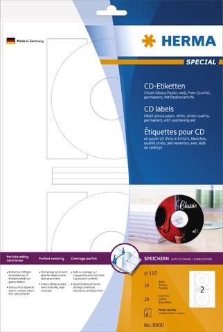 Etikett, CDs/DVDs, I, sk, Loch 41 mm, Ø: 116 mm, weiß, glänzend