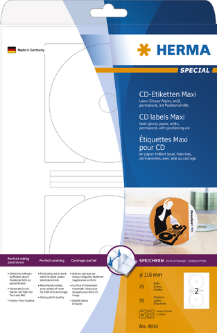 Etikett, CDs/DVDs, FL/FK, sk, Papier (RC), Ø: 116 mm, weiß, glänzend