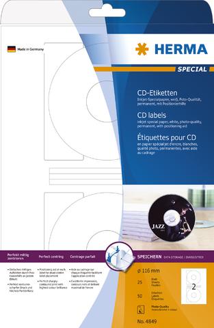 Etikett, CDs/DVDs, I, sk, Loch 41 mm, Ø: 116 mm, weiß