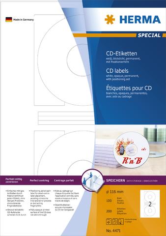 Etikett, CDs/DVDs, I/L/K, sk, Loch 41 mm, Ø: 116 mm, weiß