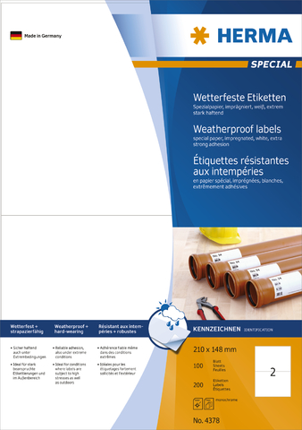 Etikett, wetterfest, L/K, sk, Spezialpapier, 210 x 148 mm, weiß