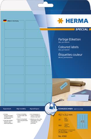 Etikett, I/L/K, sk, abger.Ecken, 45,7 x 21,2 mm, blau