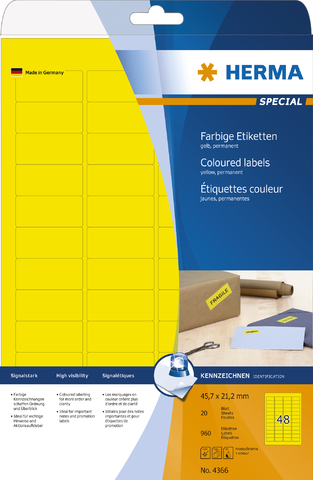 Etikett, I/L/K, sk, abger.Ecken, 45,7 x 21,2 mm, gelb