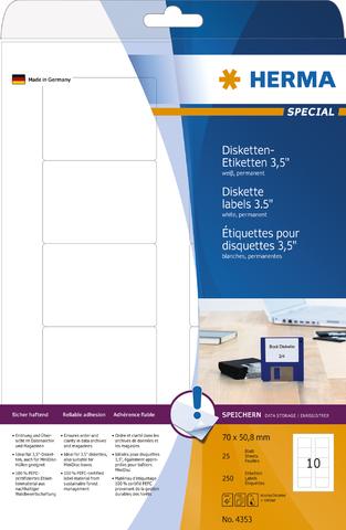 Etikett, Disketten 8,89 cm, I/L/K, sk, abger.Ecken, 70 x 50,8 mm, weiß