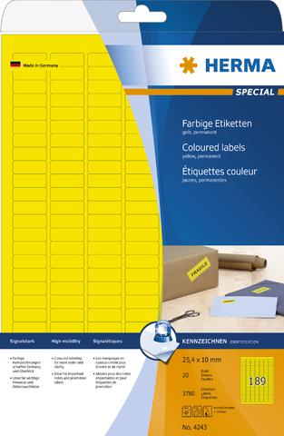 Etikett, I/L/K, sk, 25,4 x 10 mm, gelb