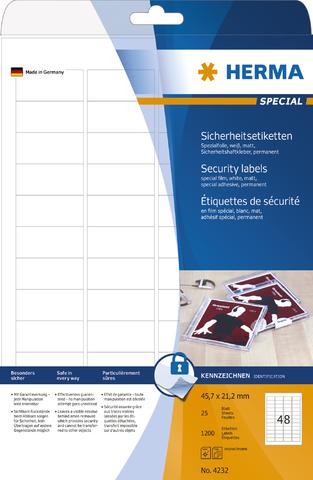 Sicherheitsetikett, L/K, permanent, Folie, 45,7 x 21,2 mm, weiß, matt