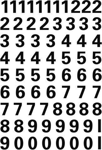 Etikett, 0-9, sk, Folie, Schrifth.: 10 mm, freigestellt, schwarz