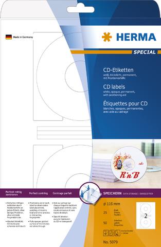 Etikett, CDs, I/L/K, sk, Loch 41 mm, Ø: 116 mm, weiß