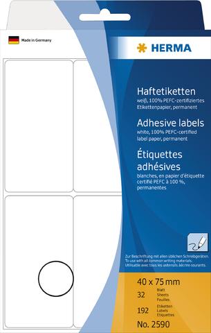 Etikett, Handbeschriftung, sk, Spezialpapier, 40 x 75 mm, weiß