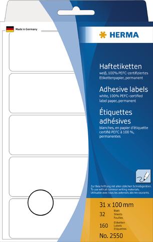 Etikett, Handbeschriftung, sk, Spezialpapier, 31 x 100 mm, weiß