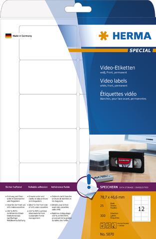 Etikett, Video Front, I/L/K, sk, 78,7 x 46,6 mm, weiß