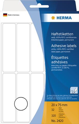 Etikett, Handbeschriftung, sk, Spezialpapier, 20 x 75 mm, weiß