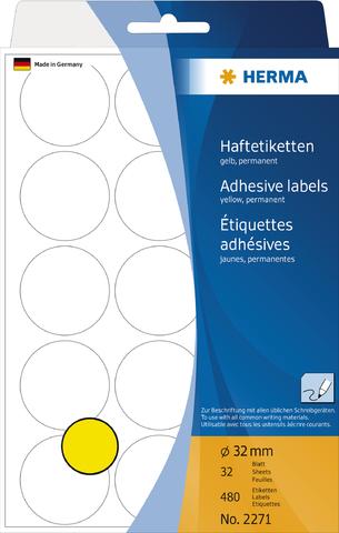Markierungspunkt, Handbeschriftung, sk, Ø: 32 mm, gelb