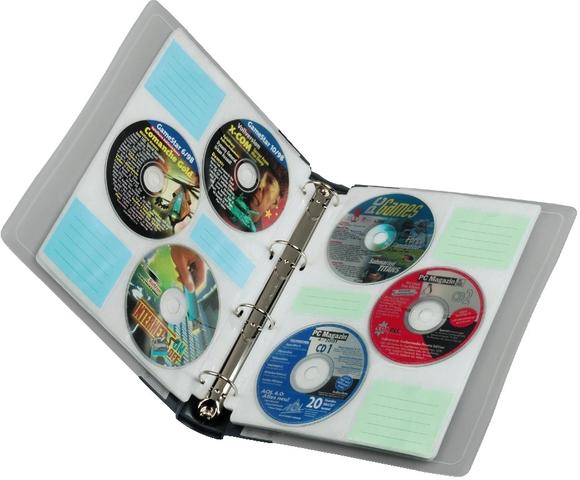 CD-Ringordner, 288 x 31 x 52 mm, für: 60 CDs, graphit, transparent