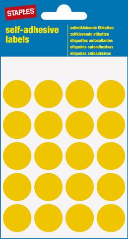 Markierungspunkt, auf Bogen, sk, Papier, Ø: 19 mm, gelb