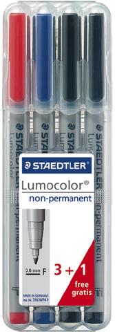 OH-Stift, Lumocolor® 316, F, non-perm., 0,6 mm, Schreibf.: sortiert