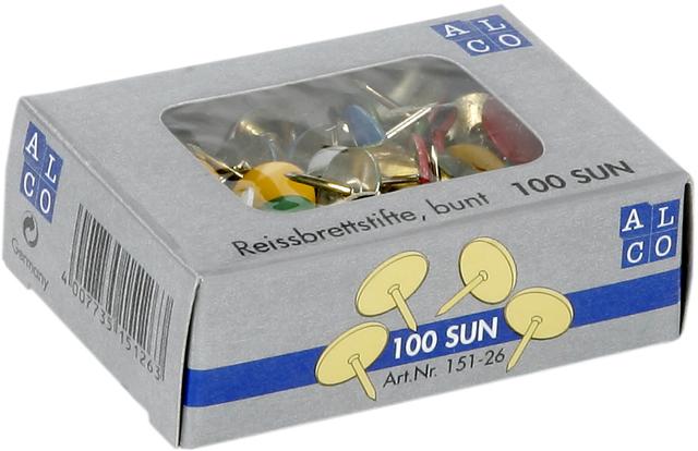 Reißnagel SUN, kunststoffüberzogen, Kopf: 9,5 mm, sortiert