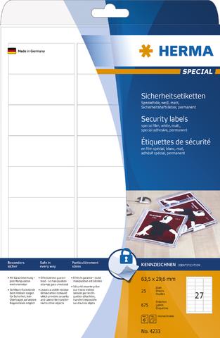 Sicherheitsetikett, L/K, permanent, Folie, 63,5 x 29,6 mm, weiß, matt
