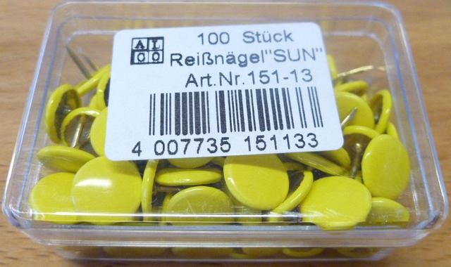 Reißnagel SUN, kunststoffüberzogen, Kopf: 9,5 mm, gelb
