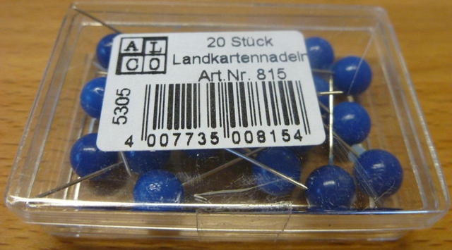 Pinnnadel, Rundkopf, Kopf: 8 mm, Gesamtlänge: 16 mm, blau