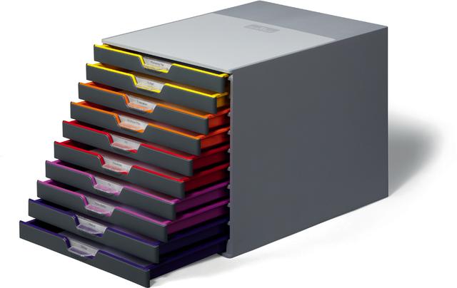 Schubladenbox VARICOLOR, mit 10 Schubladen, 292 x 356 x 280 mm, grau
