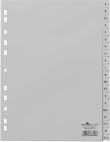 Register, A - Z, 6fach Lochung, A4, vo.Höhe, 20 Blatt, grau