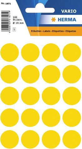 Markierungspunkt, Handbeschriftung, sk, Ø: 19 mm, gelb