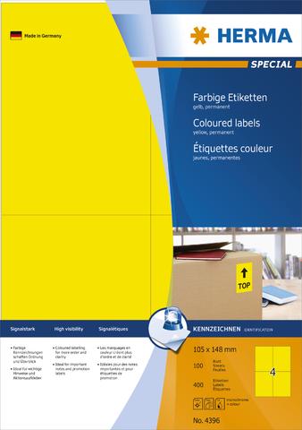Etikett, I/L/K, sk, 105 x 148 mm, gelb