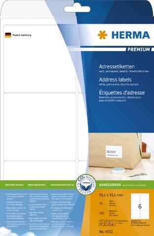 Adressetikett, Schreibmaschine, auf A4-Bogen, sk, 99,1x93,1mm, weiß