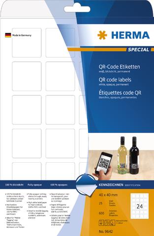 Etikett, QR-Codes, I/L/K, sk, 40 x 40 mm, weiß, opak