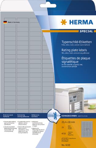 Etikett, Laser/Kopierer, sk, PES-Fol., 25,4x10mm, silber, matt