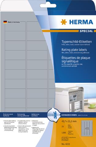Etikett, Laser/Kopierer, sk, PES-Fol., 45,7x21,2mm, silber, matt