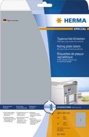 Etikett, Laser/Kopierer, sk, PES-Fol., 210x297mm, silber, matt