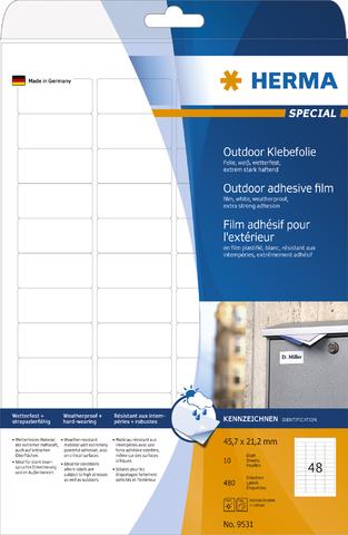 Etikett Outdoor, FL/FK, sk, abger.Ecken, 45,7 x 21,2 mm, weiß, matt